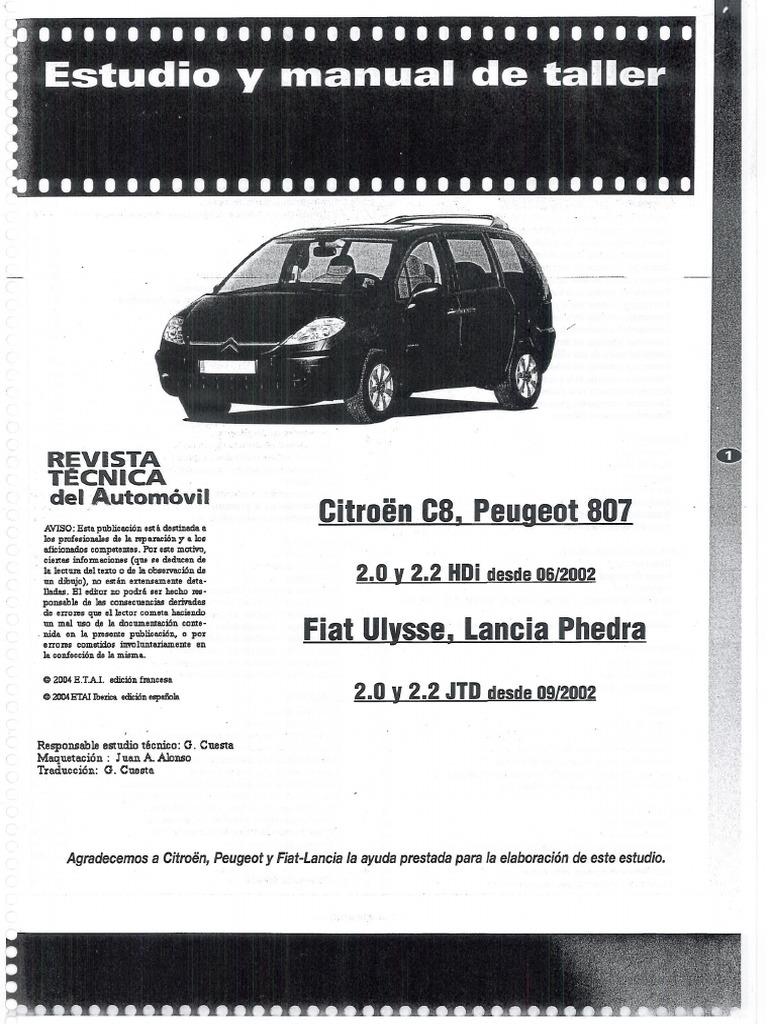 Manual Taller Citroen C8  Peugeot 807  Fiat Ulysse  Y Lancia Phedra  Espa U00d1ol Pdf