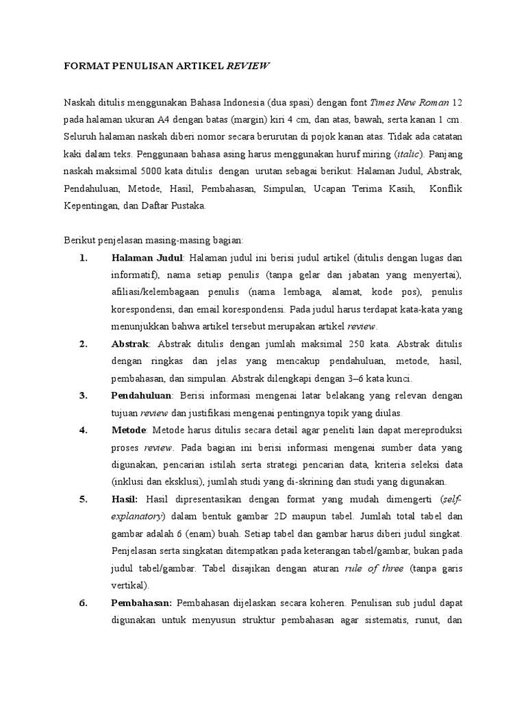 Format Penulisan Artikel Review
