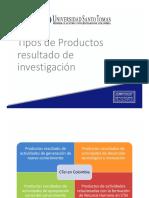Tipos de Productos resultado de Investigación en Colombia