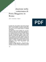 A. Carotenuto - Simboli d'Individuazione Nella Basilica Sotterranea Di Porta Maggiore in Roma