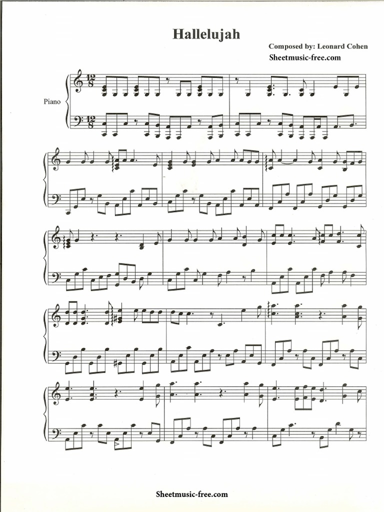 A thousand years piano sheet music christina perri sheetmusic hallelujah piano sheet music leonard cohen sheetmusic free hexwebz Image collections