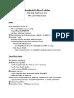 PreService Checklist