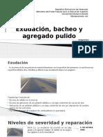 Mantenimiento vial, Agregado Pulido, Exudacion, Bacheo