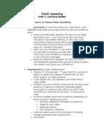 Public Speaking Unit 1 Lecture Notes
