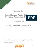 Manuel Ignacio Acosta Gutiérrez, Primer Informe de Trabajo 2016