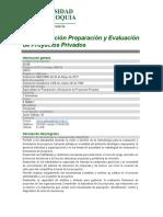 Especialización Preparación y Evaluación de Proyectos 2017-1