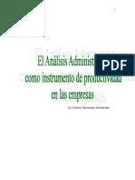 Analisis Administrativo Tema 1 Como Instrumento de Productividad