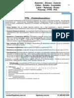 Especificaciones PTFE