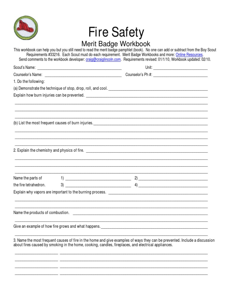 Fire Safety Merit Badge Worksheet Worksheets Releaseboard Free – Crime Prevention Merit Badge Worksheet