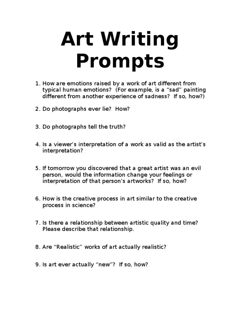 writing prompts for art emotions self improvement