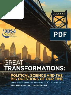 2016 APSA Final Program | Politics | Science