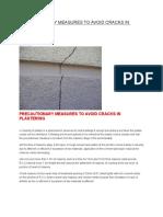 Precautionary Measures to Avoid Cracks in Plastering