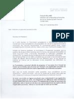 Courrier Au Président de La République 21 Septembre 2016
