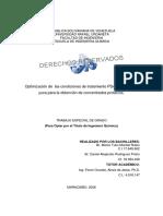 Optimización de las condiciones de tratamiento PDA del follaje de yuca para la obtención de concentrados proteicos.