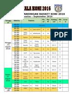 Jadwal Pertandingan Basket Koni 2016
