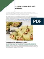 Cómo Son Los Menús y Tablas de La Dieta Disociada Paso a Paso