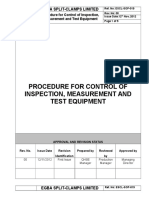 ESCL-SOP-019, Procedure for Control of Inspection, Measurement and Test Equipment