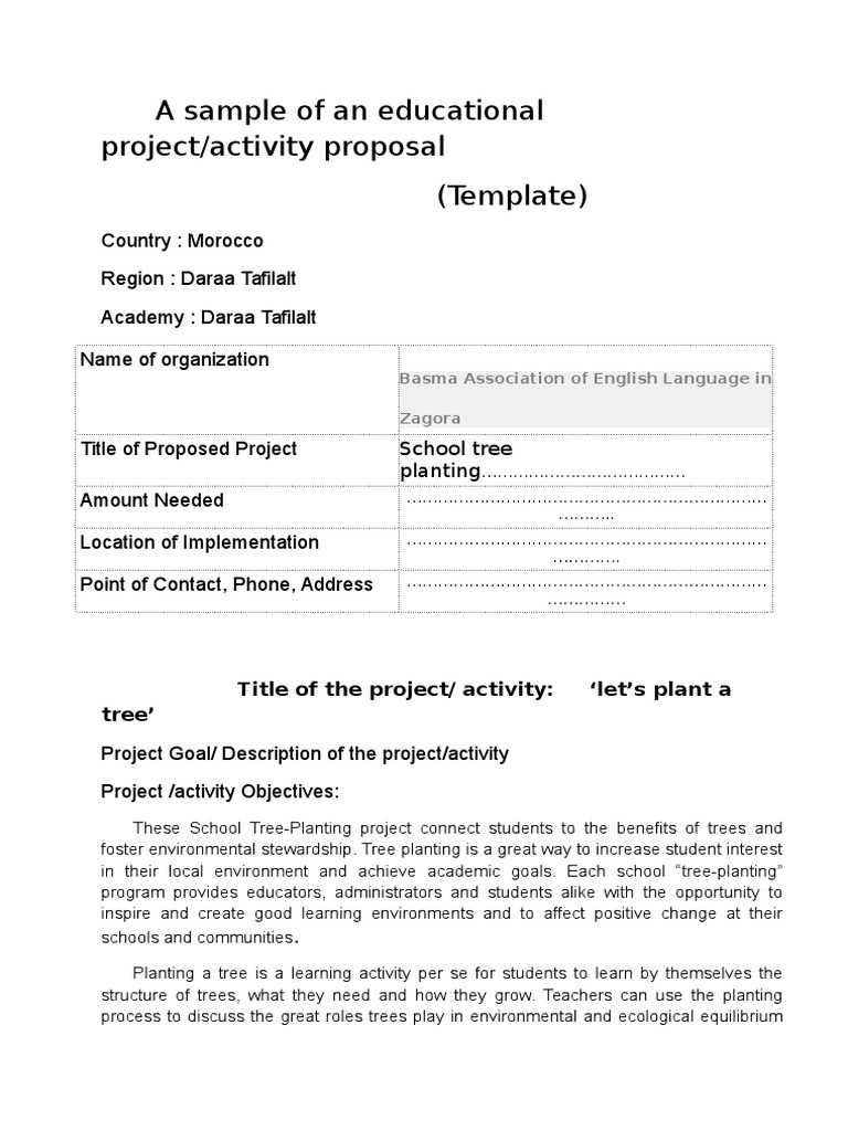 tree planting project proposal Projects include tree planting activities of all types: riparian buffer tree planting, community and neighborhood tree plantings etc winning proposals will demonstrate the merit of the project and how the trees will be maintained in perpetuity.