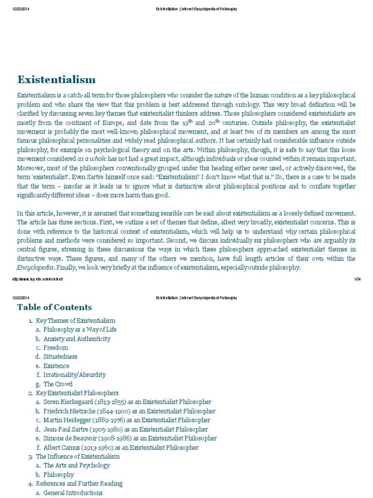 Existentialism _ Internet Encyclopedia of Philosophy ...