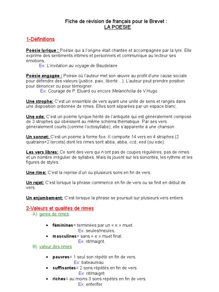 Assez Fiche de révision de français pour le Brevet TF02