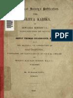 Coolebrook - The Sankhyakarika, Bombay 1887