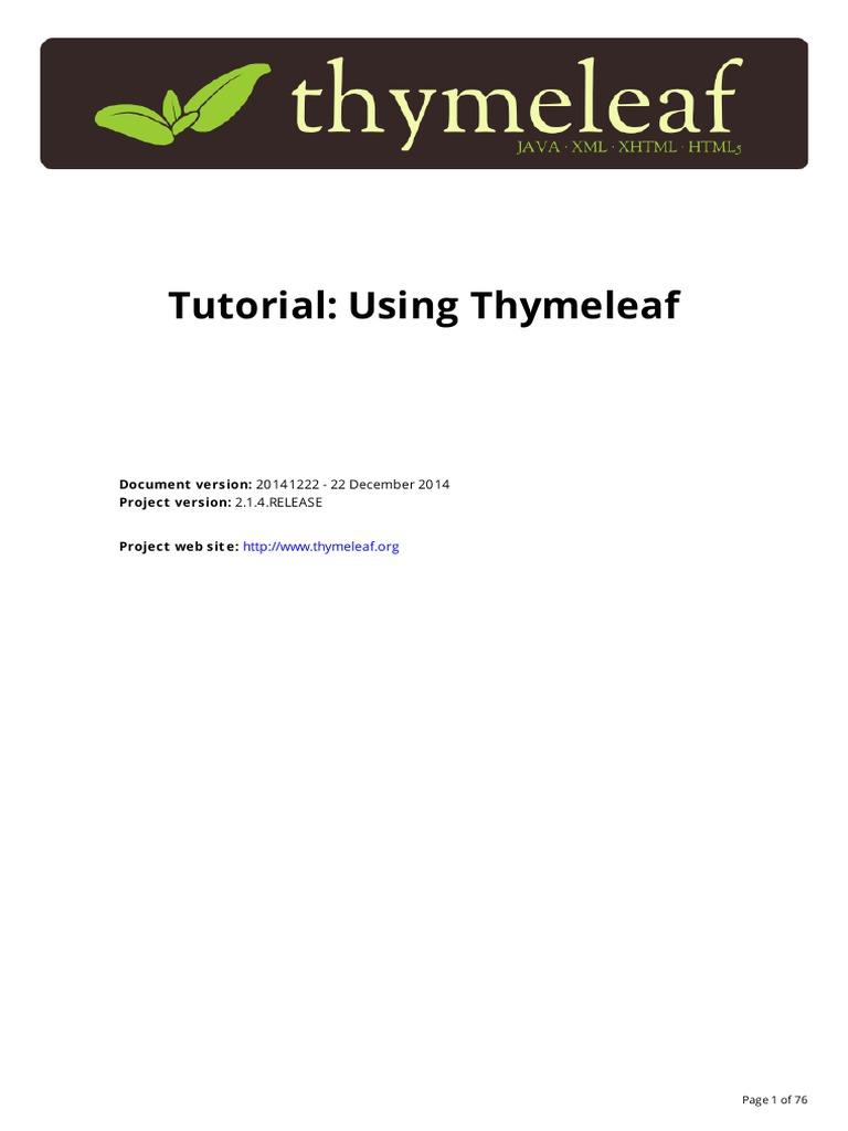 Tutorial: Using Thymeleaf