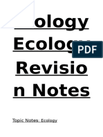 Biology Ecology Revision Notes