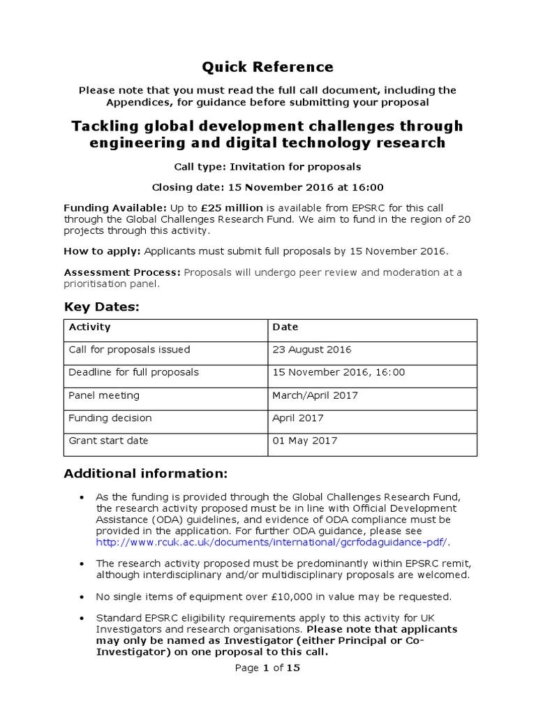 Tackling Global Development Challenges Call | Development Assistance  Committee | International Development