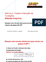 AULA 5. NBR 6122- Projeto e Execução de Fundações Métodos Empíricos