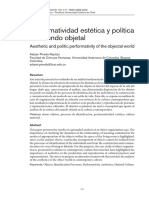 Performatividad Estética y Política Del Mundo Objetal Aisthesis