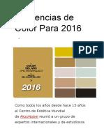 Tendencias de Color Para 2016