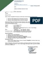 Surat Undangan Pelatihan Sertifikasi 17-19 Februari 2016
