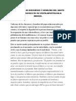 Analisis de Los Discursos y Homilías Del Santo Padre Francisco en Su Visita Apostolica a Mexico