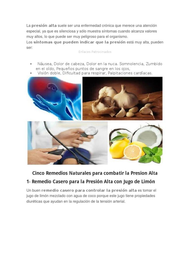medicamentos naturales para la hipertensión