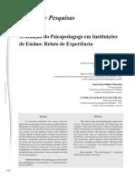 A Atuação Do Psicopedagogo Em Instituições de Ensino Relato de Experiência