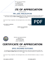 Certificate of Appreciation Traffic Summit 2016