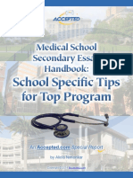Medical School Secondary Handbook Tips