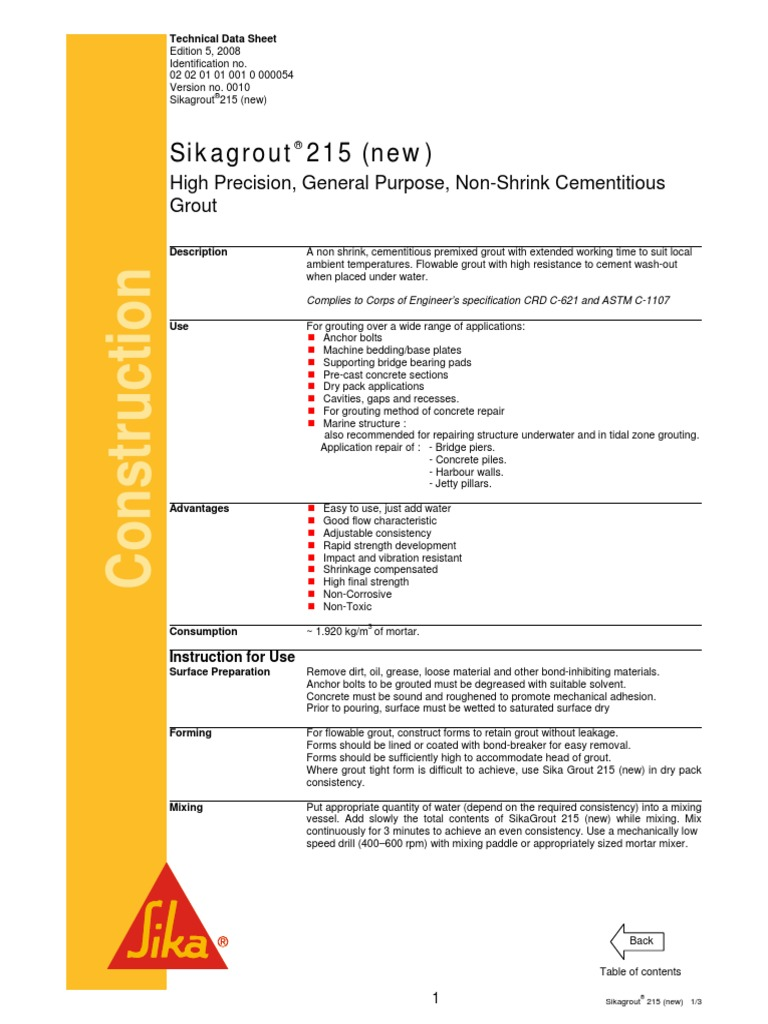 Sikagrout 215 (New)   Mortar (Masonry)   Concrete