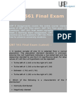 UOP E Assignments   QNT 561 Final Exam - Questions and Answers