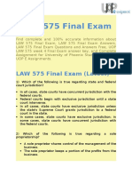 UOP E Assignments | LAW 575 & LAW 575 Final Exam Question & Answers