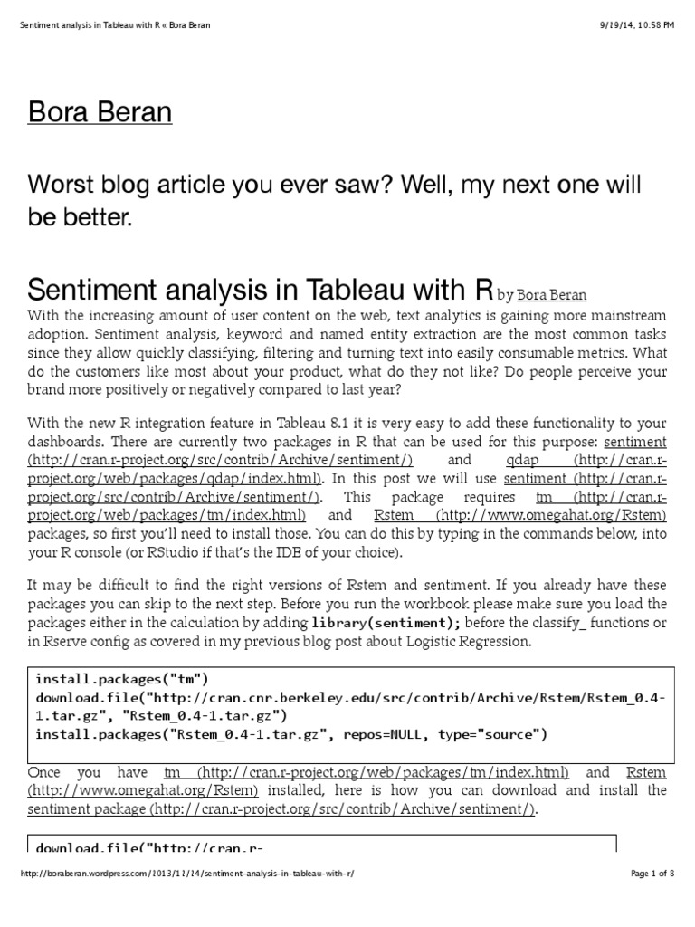 Sentiment Analysis in Tableau With R « Bora Beran | Computer Data