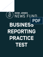 2016 Business Reporting Test Answer Key
