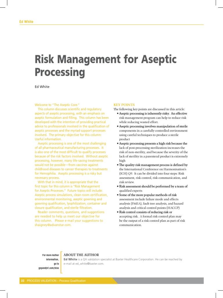 Risk Management for Aseptic Processing   Risk Management   Risk