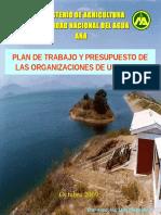 Plan de Trabajo de Las Oraganizaciones de Usuarios