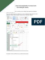 Colocar o Sinal de Expoente No Excel Em Formatação Texto