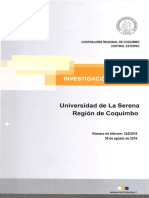 INFORME DE INVESTIGACIÓN ESPECIAL N° 324-16 UNIVERSIDAD DE LA SERENA AL CONTRATO DE ARRENDAMIENTO DE PERTENENCIAS MINERAS A LA COMPAÑÍA MINERA SAN GERÓNIMO-AGOSTO 2016