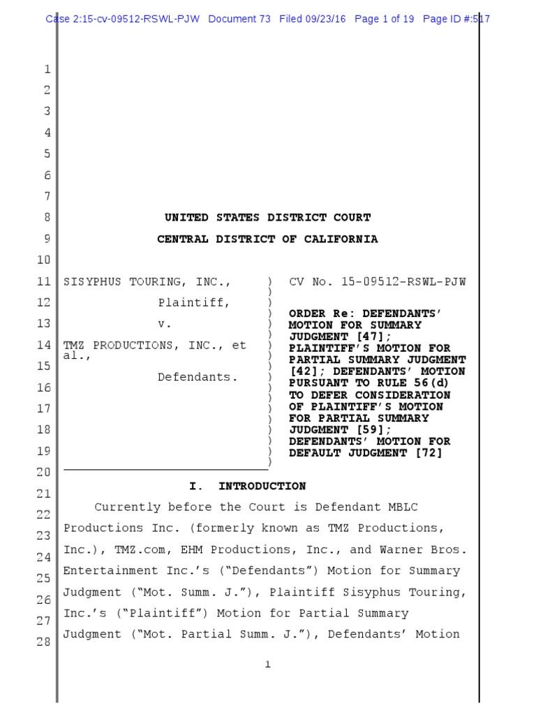 Leto opinion summary judgment complaint biocorpaavc Choice Image