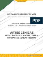 Edital SESI Viagem Teatral - Montagens Cênicas