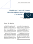 Principles and Practices in Resource Allocation