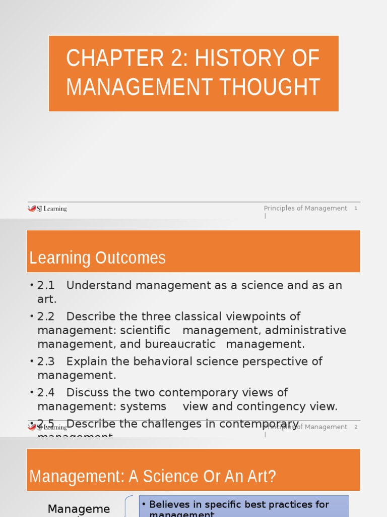 Chapter 2 History of Management Thought-ppt(1) | Motivation